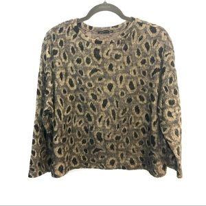 Zara Fuzzy Leopard Print Sweater